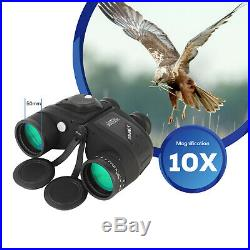 10X50 Binoculars For Adults BAK4 With Night Vision Rangefinder Compass