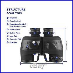 10X50 Binoculars Glimmer Night Vision Rangefinder Compass Waterproof BAK4 Prism
