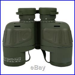 10X50 Binoculars with Night Vision Rangefinder Compass Waterproof BAK4 Prism