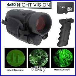 16GB IR Night Vision Monocular 200m Range Takes Photo Video DVR 4.5X40+Grip Bar
