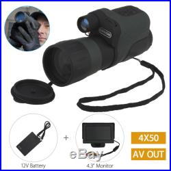 4x50mm Night Vision IR Infrared Monocular Binocular+4.3inch LCD Monitor+Battery