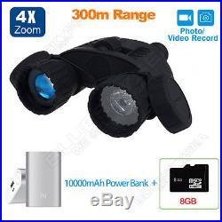 8GB Binoculars Zoom Night Vision Scope Video Photo 4X50 Infrared IR+Power Bank