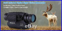 BOBLOV 5x32 Optics 16GB IR Night Vision Monocular Recorder Binoculars Security