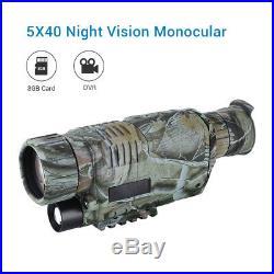BOBLOV 5x40 Digital HD 200M Night Vision Monocular 8GB DVR for Hunting Security