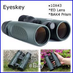 Eyeskey HD 10x43 ED Day Night Vision Outdoor Travel Binoculars Hunting Telescope