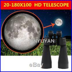 HD 20-180X100 Zoomable Binoculars Optics Light Night Vision Sports Telescope&bag
