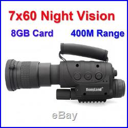 Rongland Night Vision Monocular Infrared 7x60 700M 8GB DVR Telescopes Wide Strap